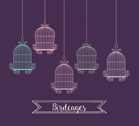 captivity: Decoration object concept represented by cute birdcages illustration, flat and colorfull design Illustration