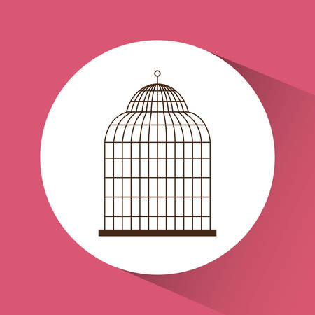captivity: Decoration object concept represented by cute birdcages over circle illustration, flat and colorfull design