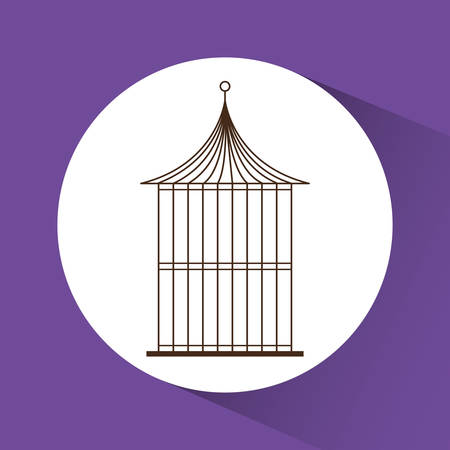 Decoration object concept represented by cute birdcages over circle illustration, flat and colorfull design
