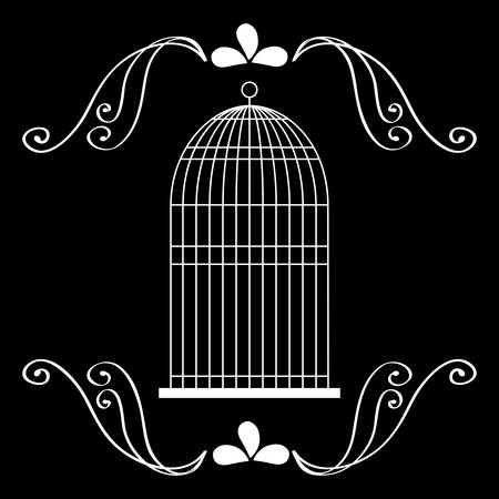 captivity: Decoration object concept represented by cute birdcages over ornament background illustration, flat, black and white design Illustration