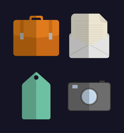 colorfull: Media represented by Icon set of office and apps concept. Colorfull and flat illustration