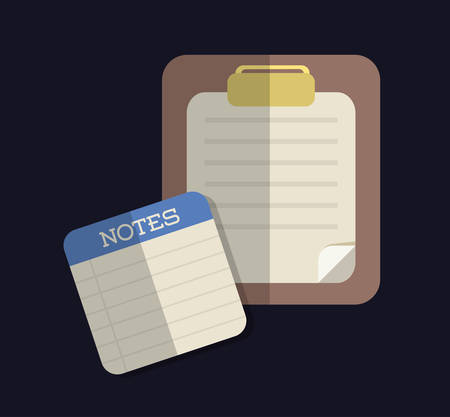 piece of paper: Document represented by piece of paper for notes icon. Colorfull and flat illustration