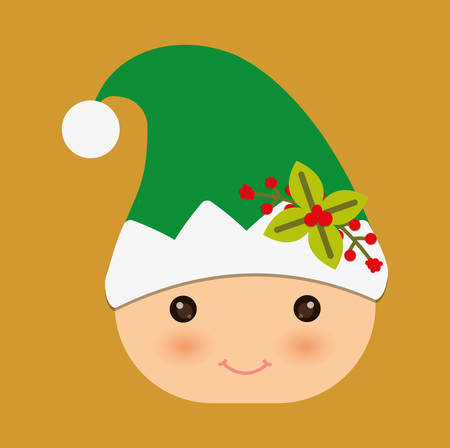elf cartoon: Merry Christmas represented by elf cartoon design. colorfulll and flat illustration Illustration
