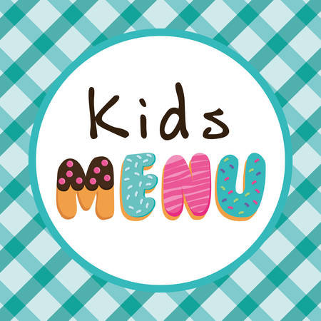 Kids menu design over blue background, vector illustration.