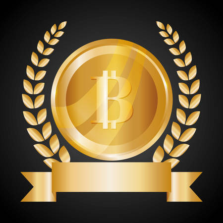 millionaire: Bitcoin design over black background, vector illustration. Illustration