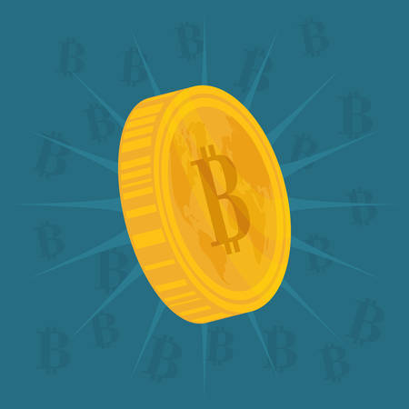 million: Bitcoin design over blue background, vector illustration. Illustration