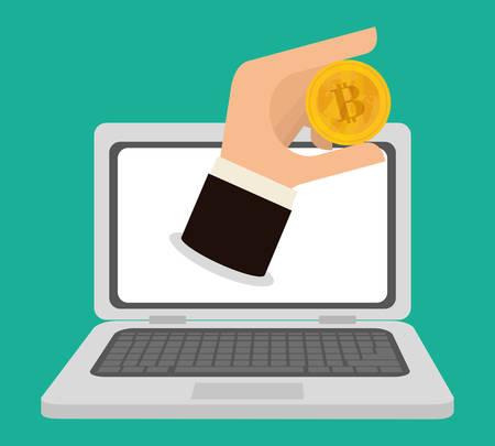 millionaire: Bitcoin design over green background, vector illustration.