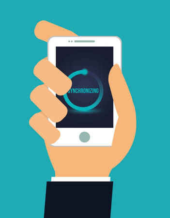synchronizing: Technology design over blue background, vector illustration.