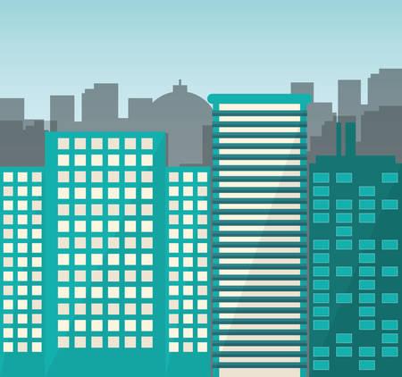 urbanization: Urban design over cityscape background, vector illustration. Illustration