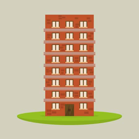 hometown: Urban design over beige background, vector illustration.