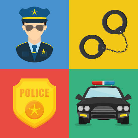coloful: Police design over coloful background, vector illustration.