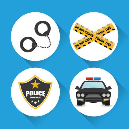 tribunal: Police design over blue background, vector illustration.