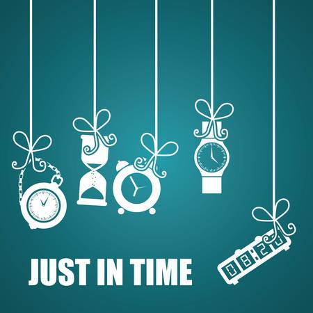 Time design over blue background, vector illustration. Vektorové ilustrace