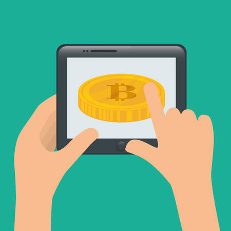 counting money: Bitcoin design over blue background, vector illustration. Illustration