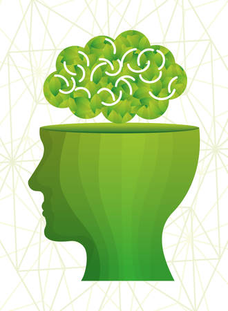 mentality: Ecology design over white background, vector illustration.