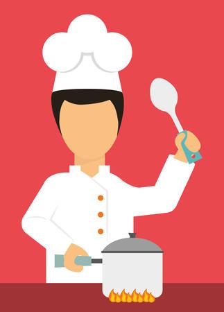 nutriments: Chef design over red background, vector illustration. Illustration
