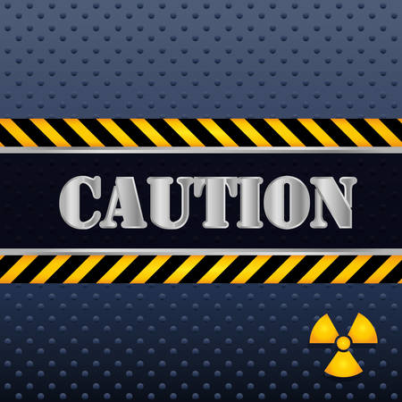 industrial safety: Caution design over blue background, vector illustration.