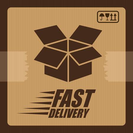 article marketing: Delivery design over brown background, vector illustration.