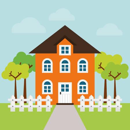 hometown: House design over blue background, vector illustration. Illustration