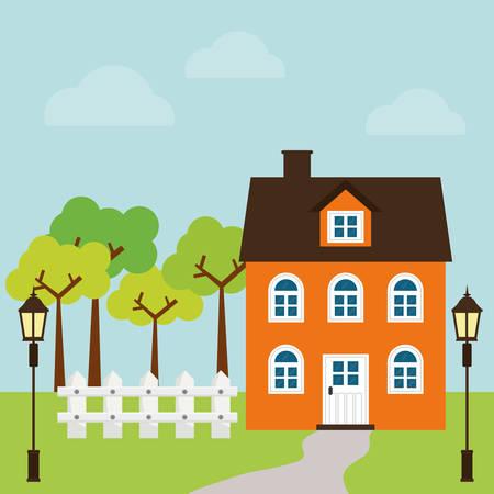 hometown: House design over landscape background, vector illustration. Illustration