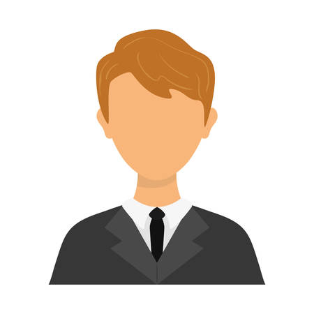 negotiate: Person concept represented by businessman with necktie icon over flat and isolated background