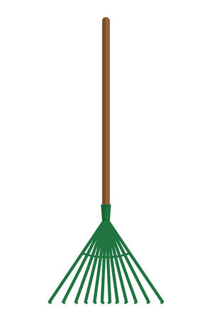 home gardening: Gardening concept represented by rake  icon over flat and isolated background Illustration