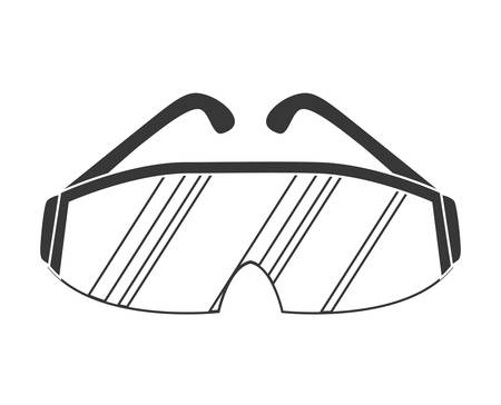 Industrial security concept represented by glasses icon over flat and isolated background