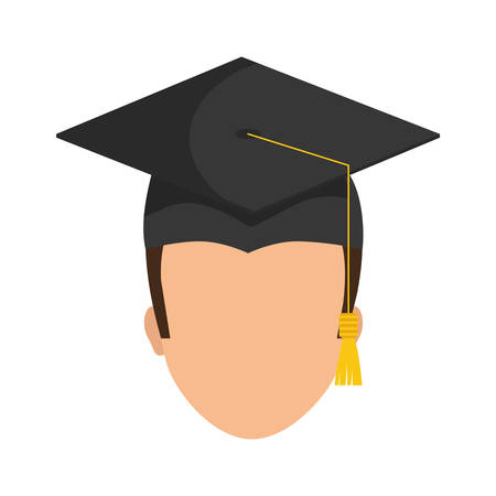 bachelor's: Graduation and University concept represented by graduation cap and boy  icon over flat and isolated background