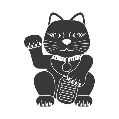 dynasty: Japan culture concept represented by lucky cat icon over flat and isolated background