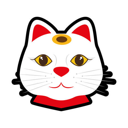 lucky cat: Japan culture concept represented by lucky cat icon over flat and isolated background