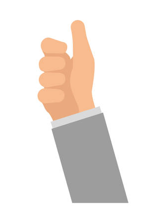 specific: Human hand  represented by specific gesture with fingers icon over isolated and flat background Illustration