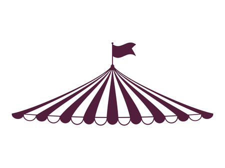 Circus en carnaval concept vertegenwoordigd door tent icoon over geïsoleerde en platte achtergrond