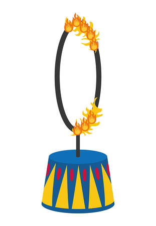 Circus and carnival concept represented by fire ring icon over isolated and flat background Illustration