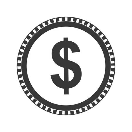 represented: Money represented by coin icon over isolated and flat background
