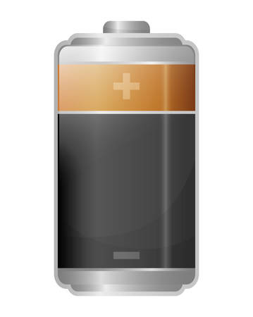 represented: Energy represented by battery icon over isolated and flat background Illustration