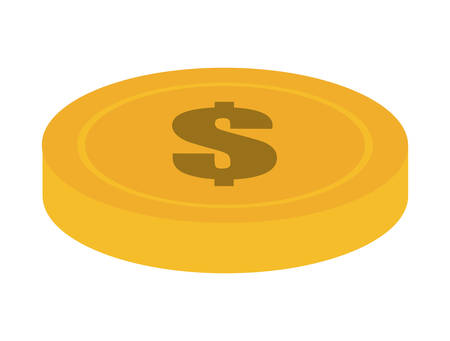 financial item: Money and financial item represented by coin icon over isolated and flat background Illustration