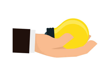 using senses: Hand represented by specific gesture with bulb icon over isolated and flat background Illustration
