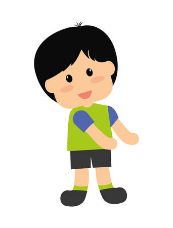 adolescent: Kid and chilhood represented by little boy over isolated and flat background Illustration