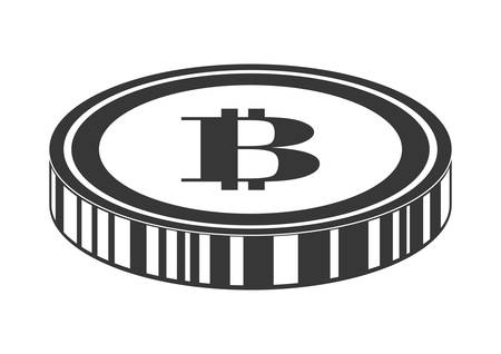 net trade: Bitcoin concept represented by coin icon over isolated and flat background