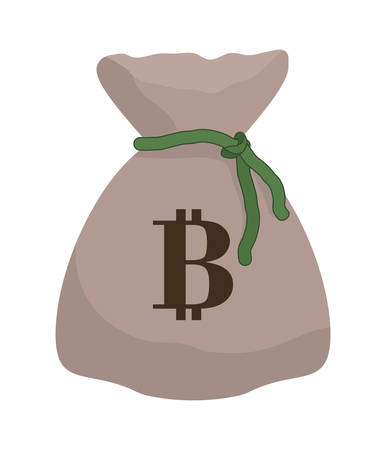net trade: Bitcoin concept represented by money bag icon over isolated and flat background Illustration