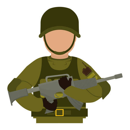 armed: Armed forces concept represented by soldier icon over isolated and flat background