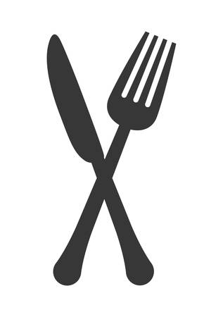 cooking utensils: Cutlery and menu concept represented by fork and knife icon over isolated and flat background