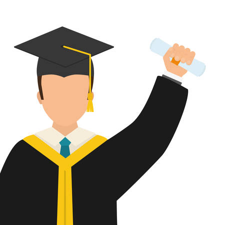 bachelor's: Graduation and University concept represented by Bachelor boy icon over flat and isolated background