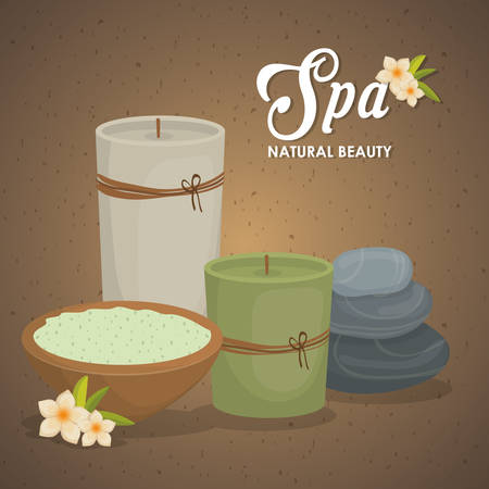 flower bath: Spa center concept represented by candle icon. Colorfull illustration over grunge and brown background