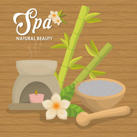 flower bath: Spa center concept represented by candle and decoration  icon. Colorfull illustration over wood background Illustration