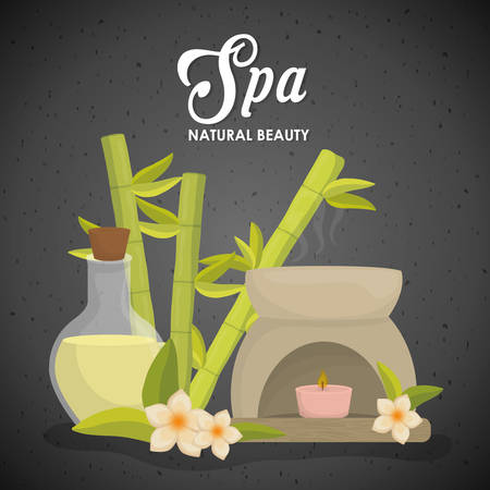 flower bath: Spa center concept represented by candle and oil icon. Colorfull illustration over grunge and black background