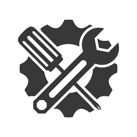 rebuilding: Tool concept represented by wrench and screwdriver icon. isolated and flat illustration Illustration