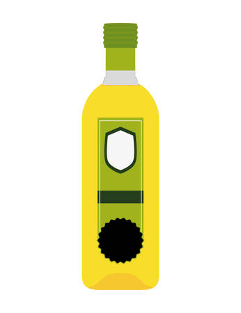 cooking oil: Organic and Healthy food concept represented by olive oil bottle icon. isolated and flat illustration