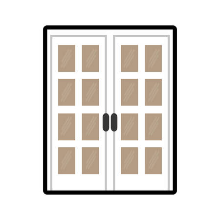 doorknob: House concept represented by door icon. isolated and flat illustration