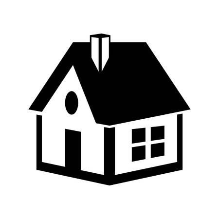 luxury house exterior: Family home concept represented by house with window icon. isolated and flat illustration